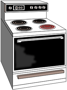 Electric Stove with Front Burner On clipart