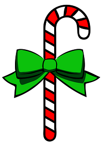 Candy Cane with a Green Bow clipart