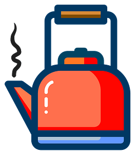 Orange Tea Pot Outlined in Blue clipart