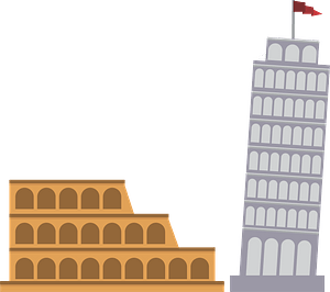 Italy - Colosseum and Leaning Tower clipart