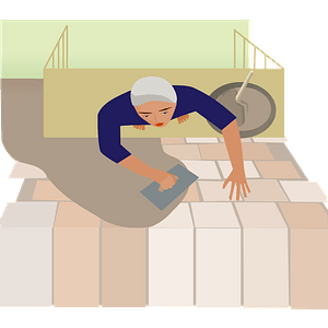 Brick Layer Standing on Scaffolding to Build a Wall clipart
