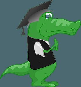 Crocodile in a Graduation Mortarboard Hat clipart