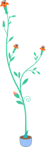 Plant in a Blue Pot with Tiny Orange Flowers clipart