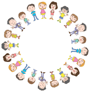 Circular Frame of People clipart