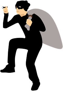 Thief Sneaking Away with Bag clipart