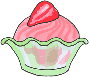 Strawberry Ice Cream in a Green Dish clipart