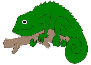 Chameleon on a Branch clipart