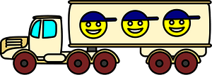 Semi Truck with Smileys on the Trailer clipart