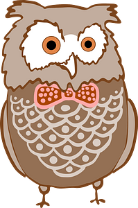 Owl with a Red Bowtie clipart