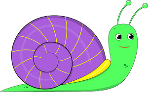 Green Snail with Purple Shell clipart