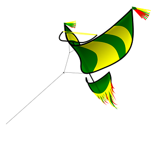 Green and Yellow Kite Flying clipart
