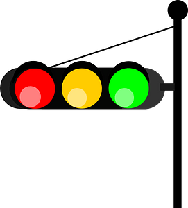 Horizontal Traffic Light on a Post clipart