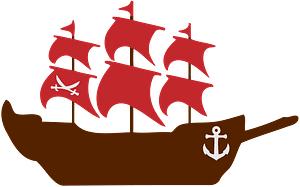 Sailing Ship with Red Sails clipart