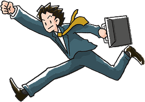 Businessman with a Briefcase Running clipart