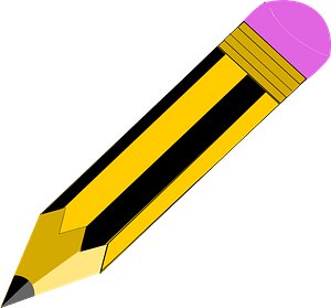 Yellow and Blue Striped Pencil clipart