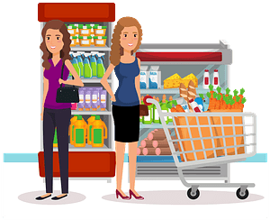 Woman Pushing Her Full Shopping Cart - Stopping to Talk to a Friend clipart