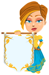 Medieval Lady Holding a Banner clipart
