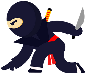 Ninja Position with a Knife clipart