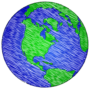 Globe painted with brushstrokes clipart