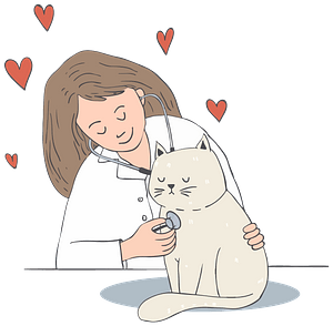 Veterinarian Checking out a Cat clipart