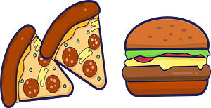 Junk Food - Pizza and Burgers clipart