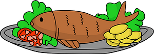 Whole Fish on a Platter clipart