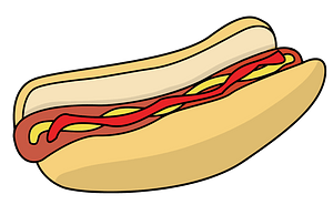 Hotdog in a Bun with Ketchup and Mustard clipart