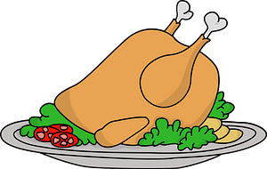 Cooked Turkey on a serving platter clipart