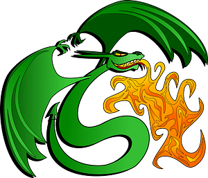 Green Dragon Breathing Orange Fire clipart