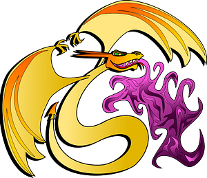 Dragon Gold Breathing Purple Fire clipart