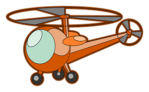 Orange Helicopter clipart
