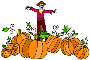 Scarecrow in a Pumpkin Patch clipart