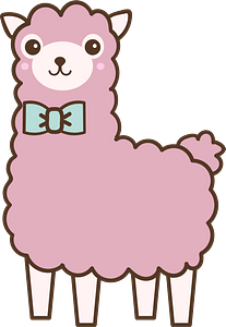 Pink Llama with a Bowtie clipart