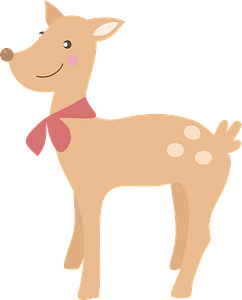 Deer with a Red Bowtie clipart