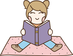 Child Sitting on a Blanket Reading clipart