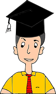 Male Graduate in a Yellow Shirt Wearing a Black Mortarboard clipart