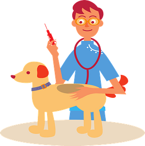 Vet Giving a Dog a Shot clipart