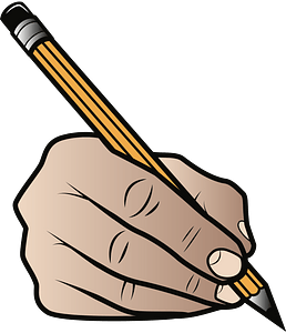 Hand Holding a Pencil in Writing Position clipart