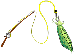 Fishing Pole with a Pea Pod Caught on its Hook clipart