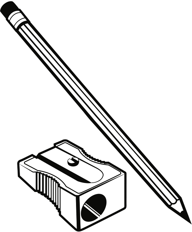 Pencil And Sharpener Black And White Clipart Free Download Transparent Png Creazilla