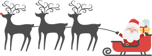 Santa and Sleigh with Reindeer in Silhouette clipart