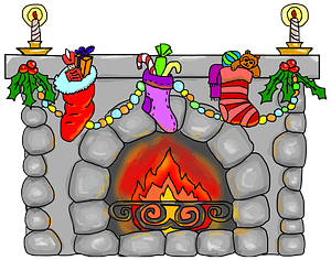 Fireplace with Stockings Hung and Christmas Decorations clipart