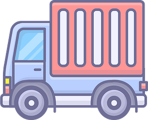Blue Truck with Red Trailer clipart
