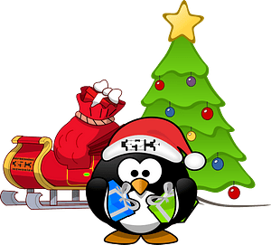 Tux Penguin Santa with Sleigh and Christmas Tree clipart