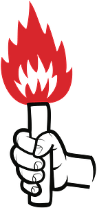 Hand Holding a Torch clipart