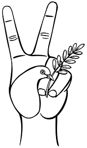 Hand with Peace Symbols - Black and White clipart