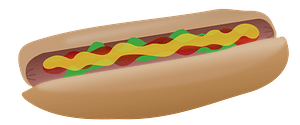 Hot Dog with ketchup, mustard, and relish clipart