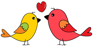 Yellow and Pink Birds in Love clipart