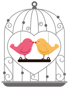 Pink and Yellow Birds Kiss Inside a Bird Cage clipart