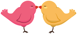 Pink and Yellow Birds Kiss clipart